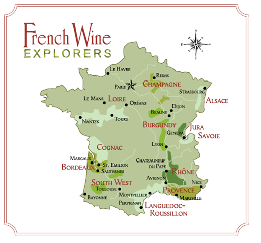 French Wine Map Of France